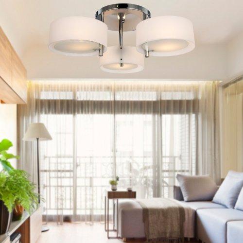 ALFRED® Lampadario moderno in acrilico in cromo con 3 lampadine, Flush Mount per studio/ufficio, camera da letto, Soggiorno (con finitura cromata)