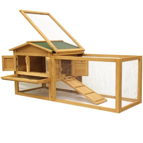BUNNY BUSINESS Zweistöckiger Käfig/Holzhütte für Kaninchen/Meerschweinchen mit Spielfläche und L