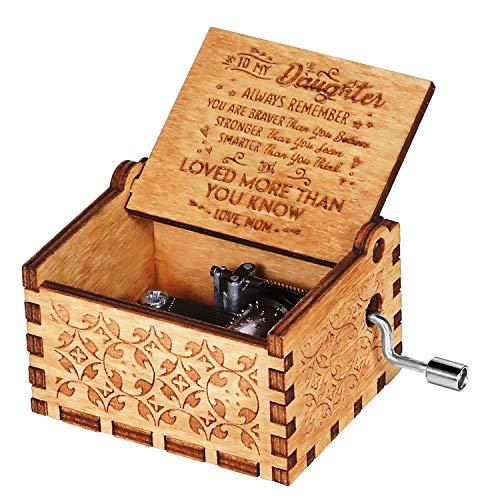 Funmo Holz Spieluhr, Handkurbel Spieluhren mit Laser-Gravur, Hölzerne Spieluhr für Geburtstage, Weihnachten, Valentinstag, Holz, Du bist Mein Sonnenschein(Mutter zu Tochter)