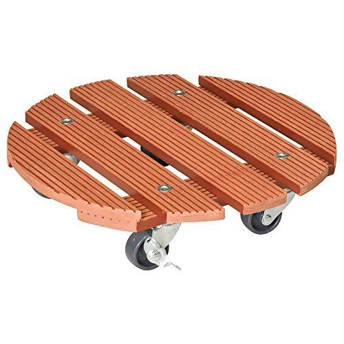 WAGNER Chariot de Plantes WPC Ø 29 x 7 cm | Porte Plante Roulant pour intérieur + extérieur, Terracotta | en Composite Bois-Plastique, 2 Freins | Capacité de Charge 100 kg - 20053501