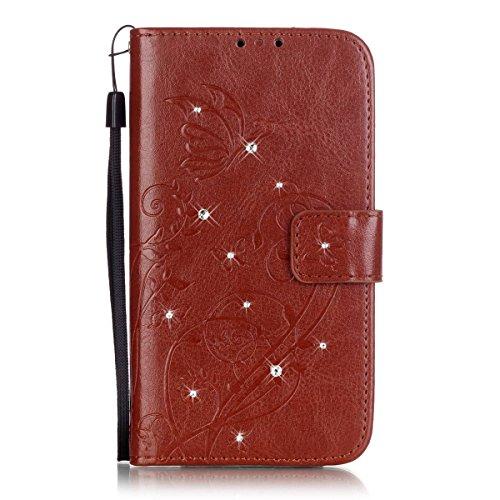 LG G Stylo Case,LG G4 Stylus Case,PHEZEN Bling Rhinestone Diamond Embossed Flower Butterfly PU Leather Wallet Case Stand Flip Case Credit Card Slot for LG G Stylo LS770/LG G4 Stylus, Brown