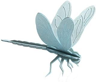 LOVI Dragonfly 3D Puzzle - Light Blue Wood - Postcard - 10 cm