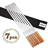 Goutime 23 X 5/8 Inch Stainless Steel Shish Kabob Barbecue BBQ Skewers with Wood Handle for Grilling, Set of 7 with Bag