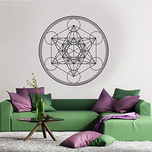 Forma de modelado de geometría sagrada creativa pegatina de pared Metatron Cube Alchemy calcomanía geométrica vinilo pared pegatina línea círculo Mandala negro