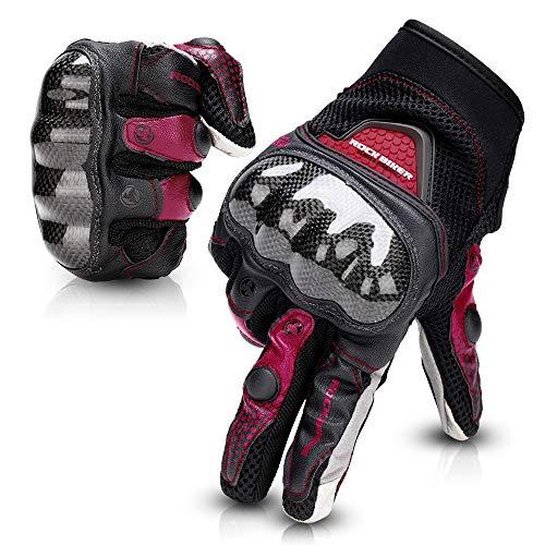Guantes Moto Tranpirable Entretiempo Guantes con Protección Guantes Moto Verano Anti-Deslizante Pantalla Táctil Proteccion Gloves Racing Moto (Rojo, XL)