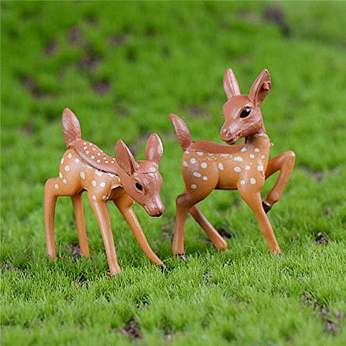 LXT&YY 10 Piezas/Lote Mini Sika Artificial Ciervo Hada jardín miniaturas gnomos Musgo terrarios Resina Manualidades Figuras para decoración del hogar: Amazon.es: Hogar
