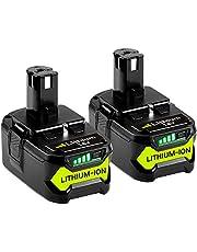 GatoPower 2 stycken, 5 000 mAh, P108, ersättning för Ryobi 18 V batteri ONE+, RB18L50, RB18L25, RB18L15, RB18L13, P108, P107, P122, P104, P105, P102, P103 med LED-bildskärm