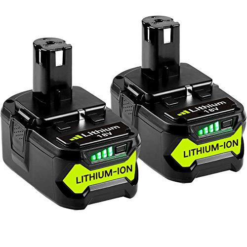 GatoPower 2x 18V 5.0Ah Reemplazo para Ryobi Batería ONE P108 RB18L50 RB18L25 RB18L15 RB18L13 P108 P107 P122 P104 P105 P102 P103 con indicador LED