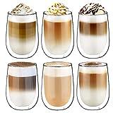 Glastal 6 Piezas Tazas de Cristal Café Espresso Transparente Taza de café de vidrio de pared Doble de 350 ML