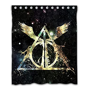 Delean Custom Deathly Hallows Fabric Water-proof Shower Curtain Printed For Bathroom Decoration 60x72 Inches