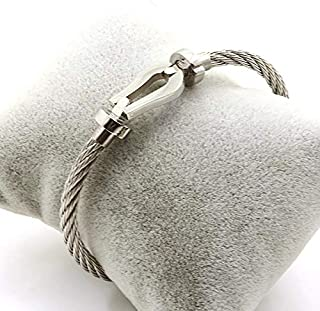 bracelet made from Titanium Steel Wire silver color Bangle Rope for Men Jewelry