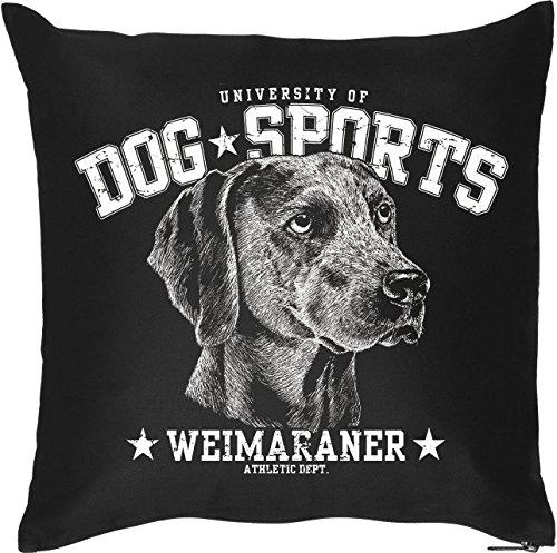 Schöner Hunde Kissenbezug in schwarz: DOG SPORTS - Weimaraner, für Hundefans, Hundeschulen und fürs Körbchen