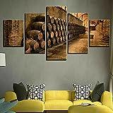 Cuadros Modernos Impresión De Imagen Artística Digitalizada Barriles De Vino De Bodega Lienzo Decorativo para Salón O Dormitorio 5 Piezas XXL