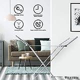 VILSTEIN Flügelwäscheständer, Elektrisches Trockengestell aus Aluminium, stabil, klappbar und Platzsparend, 1480 x 540 mm, Silbergrau - 5