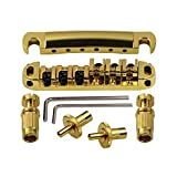 DISENS Tune-O-Matic Guitar Bridge Tailpiece and Roller Saddle for Gibson Les Paul Electric Guitar Bridge Replacement Parts Gold