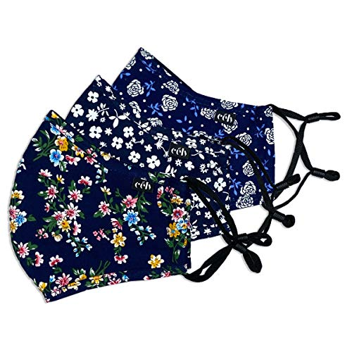 célv Wiederverwendbare Baumwollmaske | Waschbare Stoffmaske | Alltagsmaske 3-lagig | Behelfsmaske | aus Baumwolle | verstellbares Band (3er Set, Blumig blau)