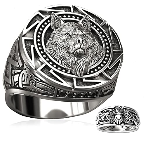 MYLY Viking Rings for Men,Stainless Steel Celtic Wolf Head Ring,Pirate Compass Norse Ring for Men,All Package Come With Another Ring (A, 10)