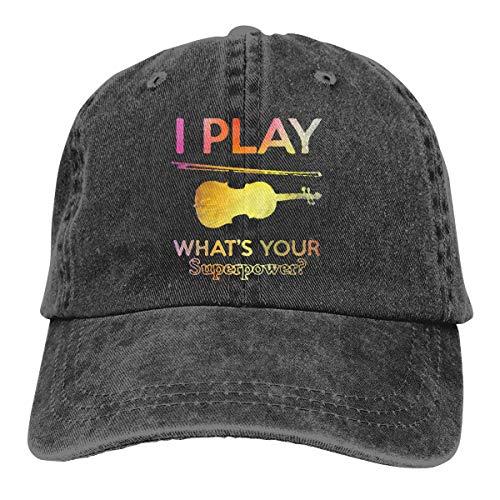 Amoyuan ik speel viool wat je superpower unisex gewassen katoen honkbalpet vintage verstelbare vader casquette trucker hoed zwart