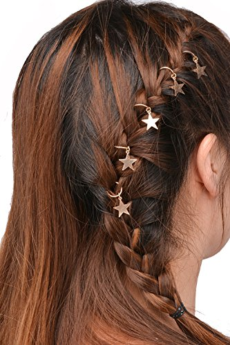 Butterme Lot de 10 anneaux dorés pour cheveux Motif étoiles