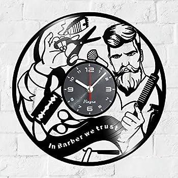 Barber Shop Design Vinyl Wall Clock Hipster Decor Hairdresser Hair Salon Scissors Vinyl Clock Decor Art Vinyl Record Clock Decorations Decor Wall Decal Art Poster Equipment in Barber We Trust Black