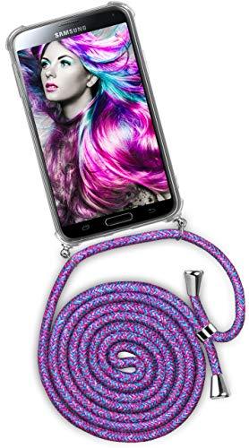 ONEFLOW® Handykette kompatibel mit Samsung Galaxy S5 - Handyhülle mit Band zum Umhängen Case Abnehmbar Smartphone Necklace - Hülle mit Kette, Einhorn Lila Pink