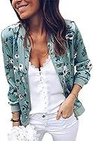 SODSIM Bomberjack voor dames, bloemen, licht, korte jas, lente, herfst, ritssluiting, opstaande kraag, casual, outwear