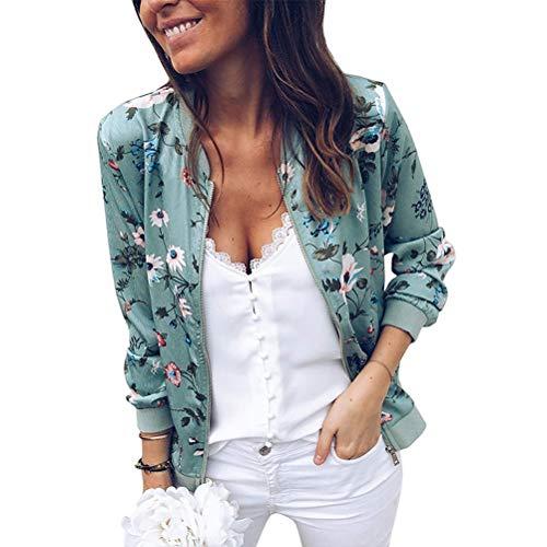SODSIM Bomberjacke Damen Blumen Leicht Kurze Jacke Frühling Herbst Reißverschluss Stehkragen Casual Coat Outwear