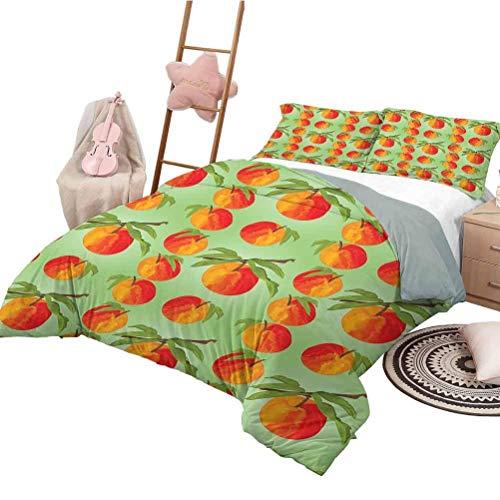 Conjuntos de Cama Juego de Fundas nórdicas Lavables de durazno Botánico Jardín orgánico Delicias Nectarinas Naranjas Suaves con Hojas Verdes anaranjados Vermilion Tamaño Completo