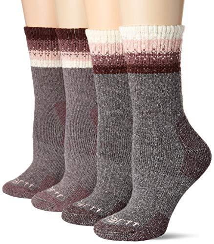 Carhartt Women's 4 Pack Thermal Crew Sock, Purple, Shoe Size: 5.5-11.5