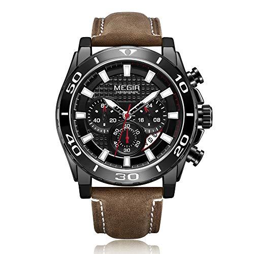 MEGIR Reloj de pulsera para hombre, cuarzo, deportivo, correa de piel, calendario, cronógrafo, manecillas luminiscentes, masculino multifuncional