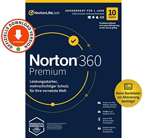 Norton 360 Premium 2021 | 10 Geräte | Antivirus | Unlimited Secure VPN & Passwort-Manager | 1 Jahr | PC/Mac/Android/iOS | Aktivierungscode per Email