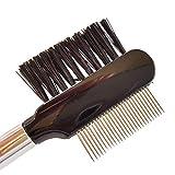 Peine de pestañas de lujo con dientes de acero inoxidable, cepillo de pestañas con peine...