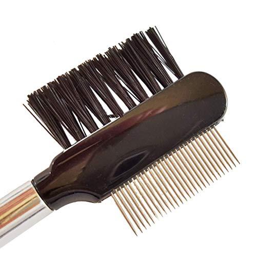 Peine de pestañas de lujo con dientes de acero inoxidable, cepillo de pestañas con peine metálico, ideal incluso para la aplicación de extensiones de pestañas