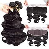 QTHAIR 12A Grade Body Wave Bundles with Frontal Human Hair Bundles with Lace Frontal Grade Brazilian Virgin Hair Ear To Ear Frontal with Body Wave Bundles (18 18 20+16 frontal, Natural Color)