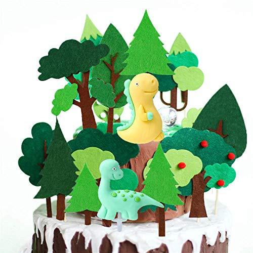 SNOWZAN 18 piezas de decoración para tartas de cumpleaños, safari, dinosaurio, bosque de safari, animales, selva animal, árbol de la selva, Animal Bautizo tarta decoración para niños y niñas