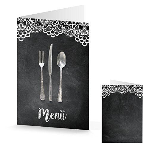10 Stück Menükarte Speisekarte SPITZE schwarz weiß Karte MENÜ bedruckbar beschreibbar Besteck Tisch-Deko Hochzeit Geburtstag Tafelkreide vintage look edel