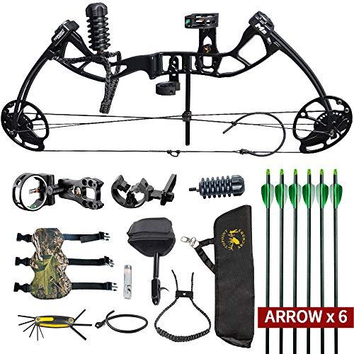 HYF Youth Compound Bow for Hunting and Beginner,Junior Compound Package/Set for Young Archers,290fps IBO Rate,Right Hand,Lightweight Design (camo) (Black)