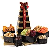 Dried Fruit & Nut Gift Basket Assortment, Black Tower Red Ribbon (12 Mix) - Variety Care Package, Birthday Party Food, Holiday Arrangement Platter, Healthy Snack Box for Families, Women, Men, Adults