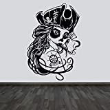 Wall stickers with pirate and skull prints, shop and tattoo decoration wall stickers, bedroom, studio murals -63x91.5cm