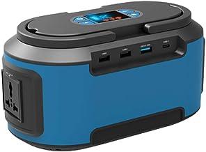 Sarrvad Solar Generator (200W AC Output, Blue) - 2.3KG, 4 DC Ports, 3 USB Ports, LED Flashlights - Lithium-ion Power Suppl...