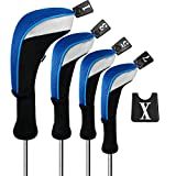 Andux Golf 460cc Driver Wood Head Covers with Long Neck and Interchangeable No. Tags Pack of 4 (Blue) MT/MG31