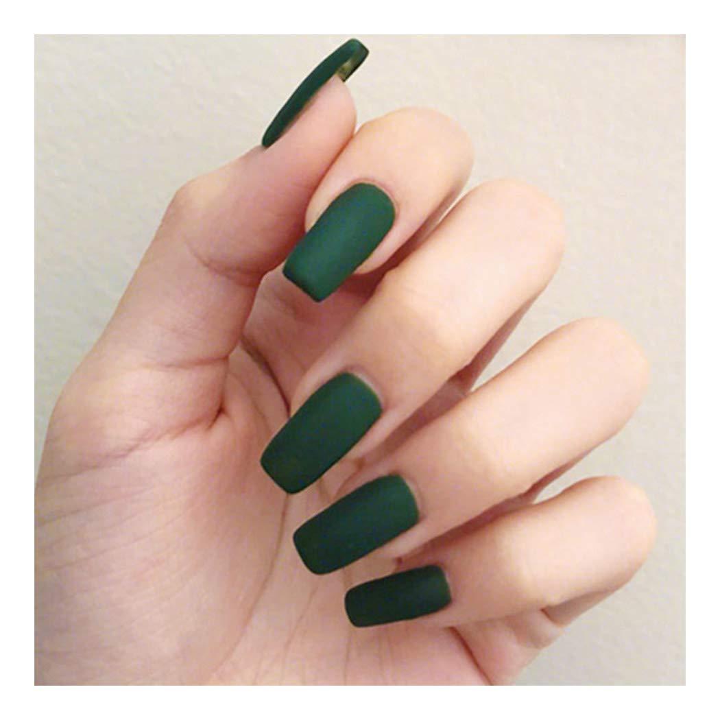 Seattle Mall Fstrend 24Pcs Matte Fake Nails Tips Pure Co Ballerina Popular overseas Green Full