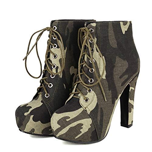 SHEMEE Damen High Heels Ankle Boots Plateau Blockabsatz Stiefeletten mit Schnürung und Absatz Kurzschaft Stiefel Schuhe((Camouflage,36)