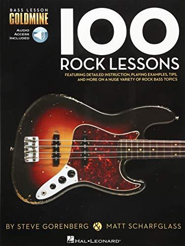 Bass Lesson Goldmine: 100 Rock Lessons: Noten, Lehrmaterial, Grifftabelle, Download für Bass-Gitarre