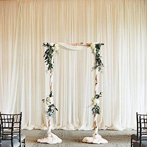 Ivory Chiffon Backdrop Wedding Decoration Party Stage Decorative Backdrop Background Curtain 9.8ftx8ft Photo Studio Backdrop