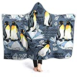 LX-LINK Emperor Penguin Pattern Hoodie Blanket for Adults Kids Soft Anti Pilling Flannel Throw Wearable Blankets with Hood Poncho 80' X60