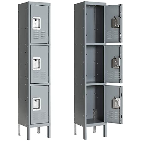 INVIE Metal Locker for Employees Steel Storage Lockers for School Home Office Gym and Lobby Lounge with 3 Door 3 Tier Gray