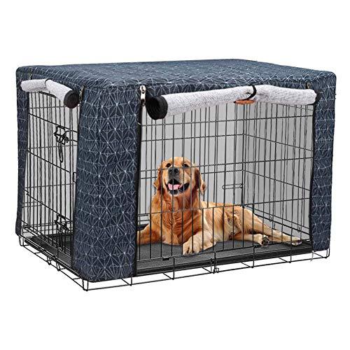 chengsan Hundekäfig-Abdeckung, mit Weihnachtsmuster, atmungsaktiv, Winddicht, Leinen, für Hundehütten, für den Innen- und Außenbereich