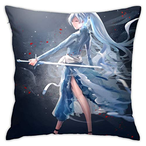 NESTOR VILTAUTAS RWBY Weiss Schnee Ice Sword Cotton Linen Decorative Throw Pillow Covers Square Soft Cushion Covers,18X18 Pillowcase for Sofa Couch Bed Chair Car Home Decor