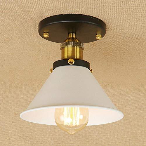 SGWH Retro Plafondlamp, vintage, industrieel design, rond, rustieke plafondlamp, binnenverlichting, woonkamer, keuken, hal, foyer, gang, trap, ijzer, witte lamp, 1 x E27, max. 40 W, Ø18,5 cm